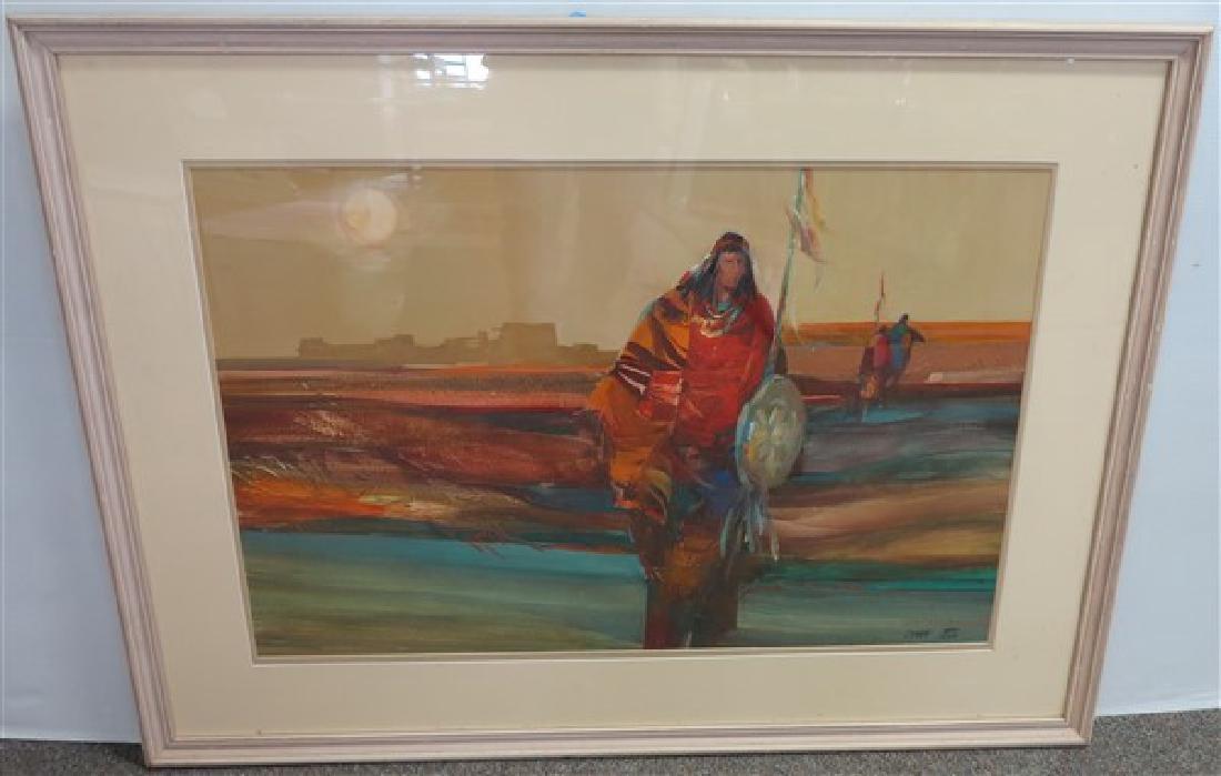 "Framed Watercolor sgnd Chiara, 34 1/2"" x 56"" framd"