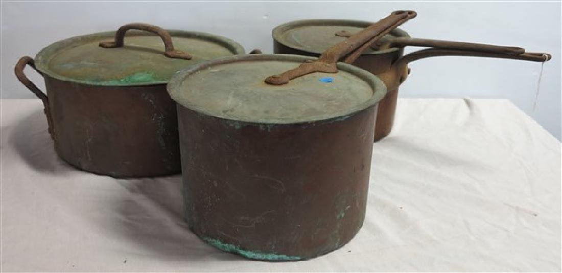 3 Large Copper pots