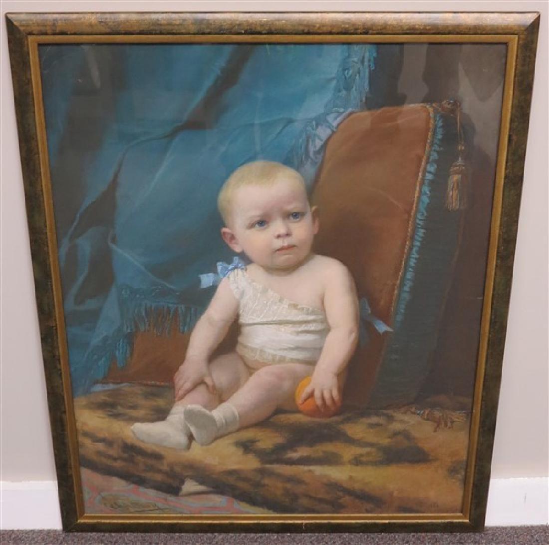 Framed Pastel of Infant dated 1880