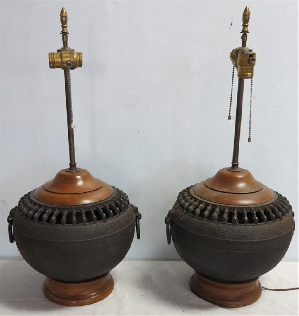 Pr Lamps/Bronze Bases