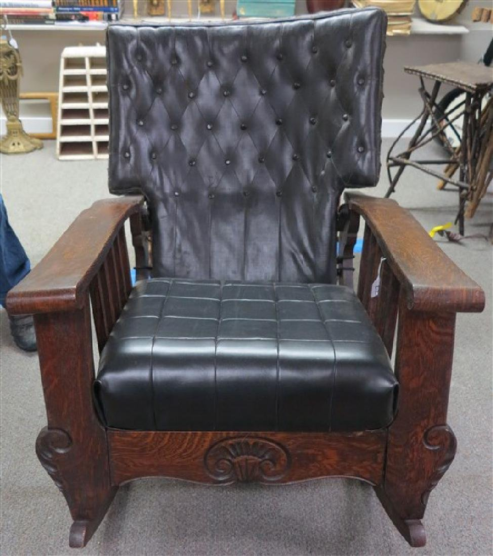 Oak Rocker with Leather Cushions