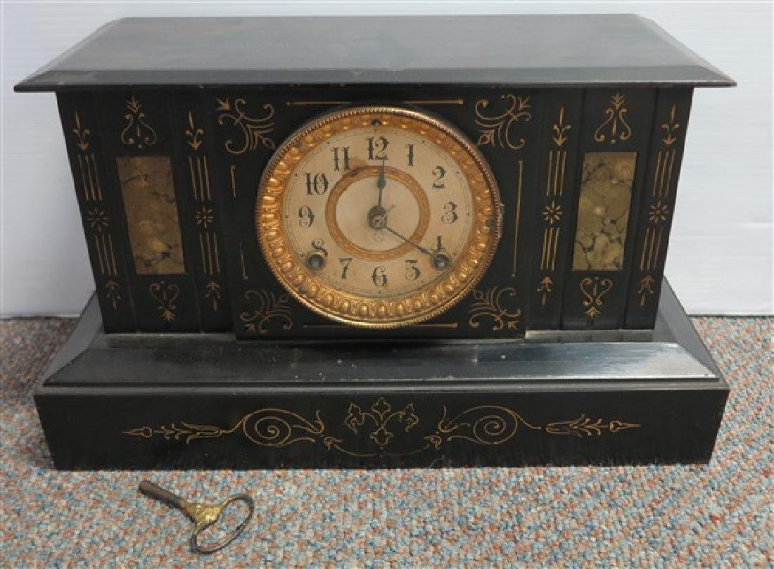Gild Incised Ansonia Clock