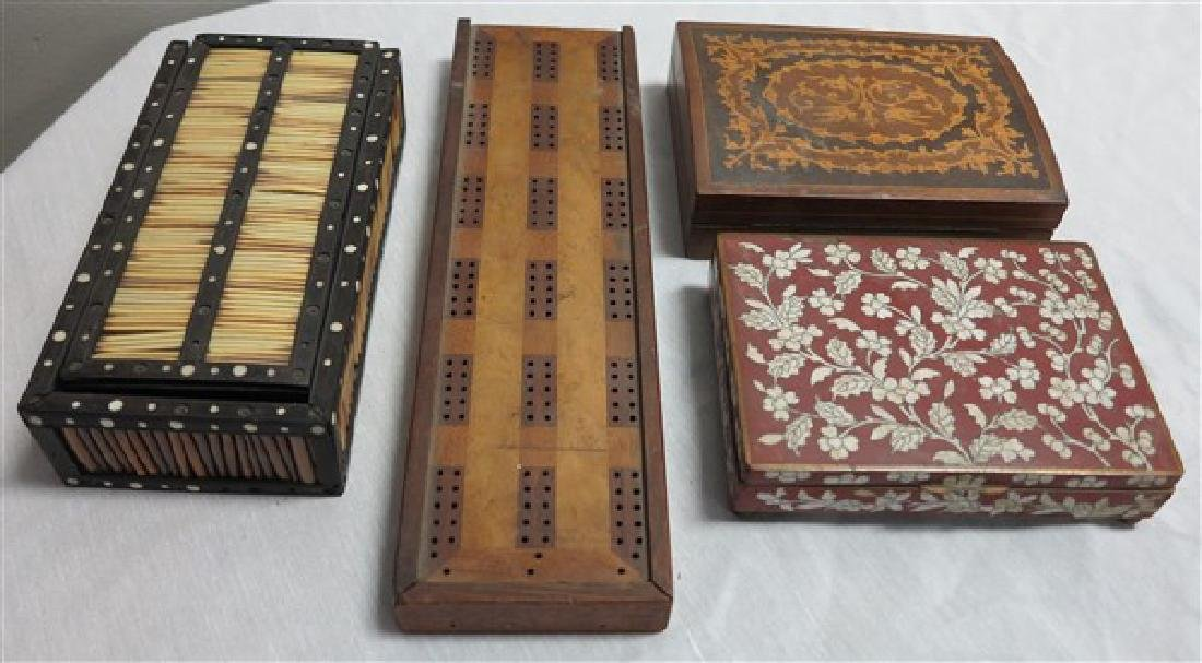 4 Pc Lot Quill Box, cribbage board, 2 dresser boxes