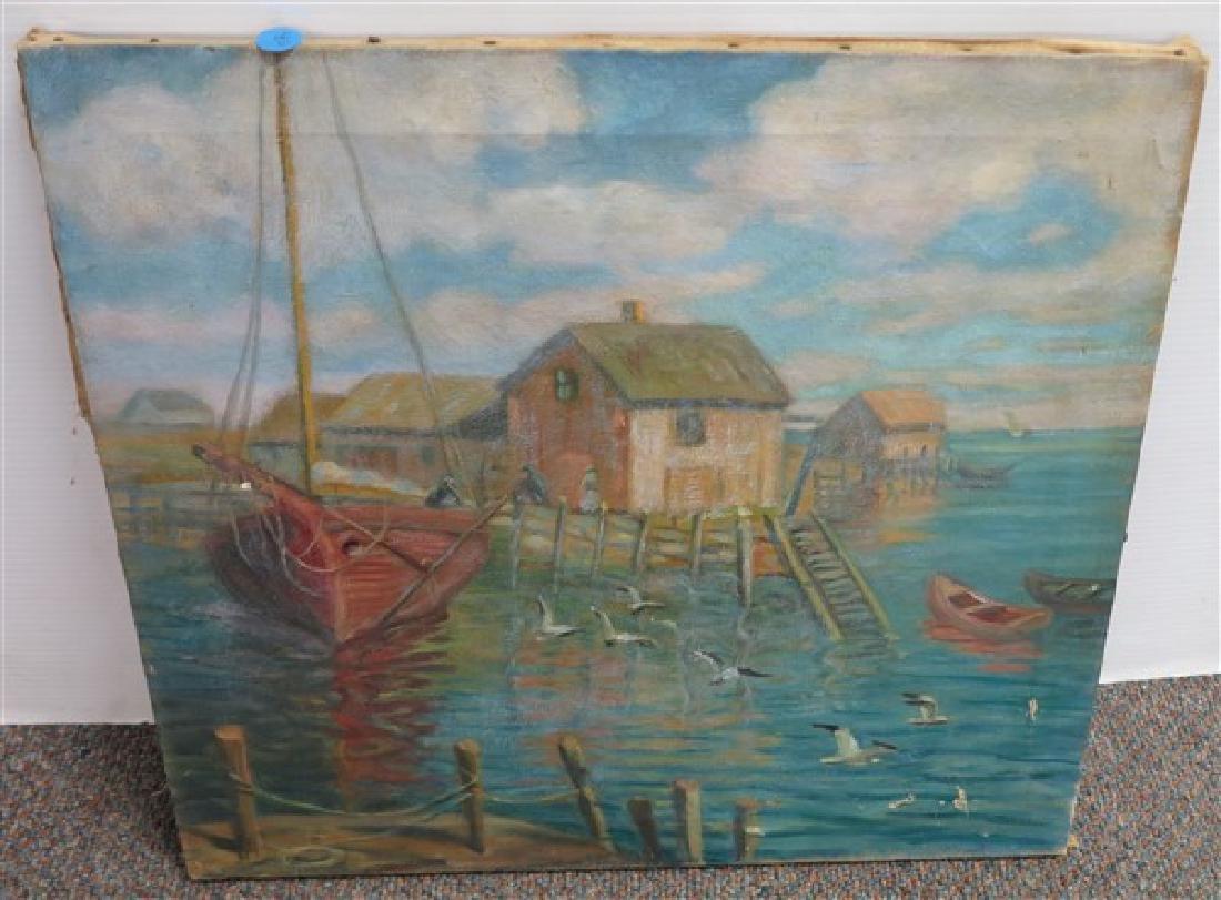 O/C Unframed harbor Scene 16 x 18