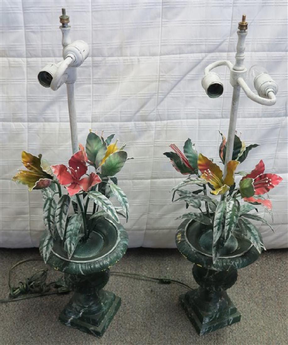 Pr Painted Lamps