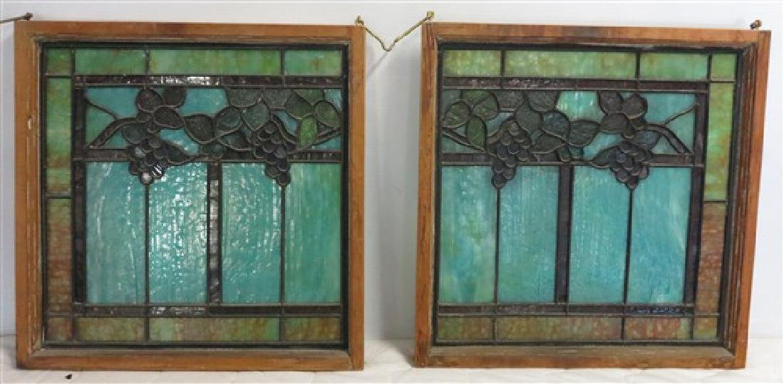 "2 Stained Glass Panels- 20"" square"