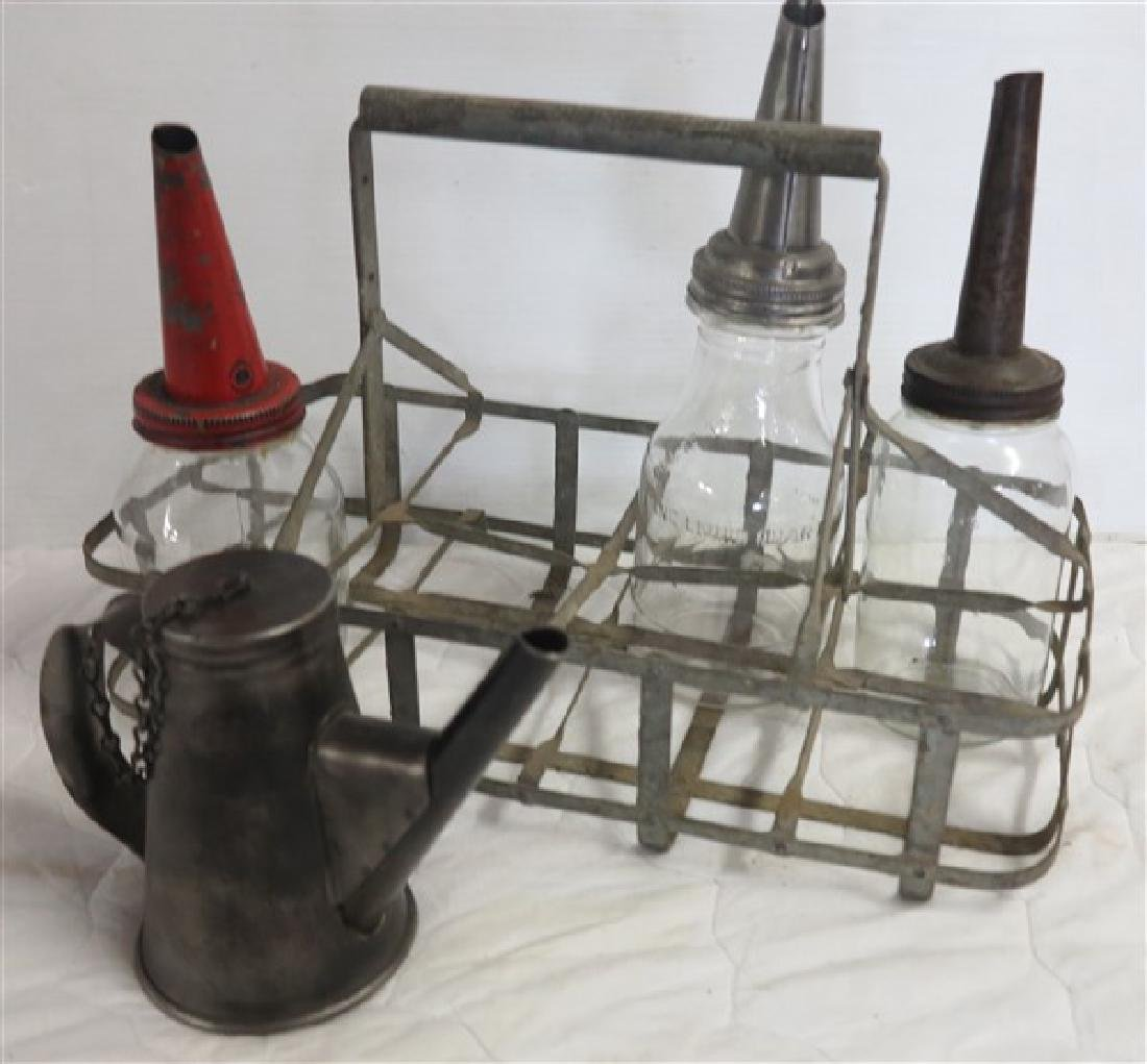 3 Oil Bottles, Carrier, and oil Can