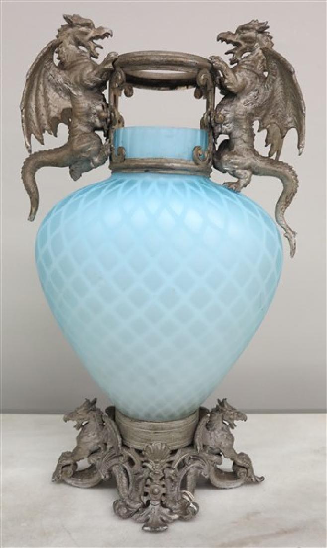 2 Satin Glass Victorian Garnitures