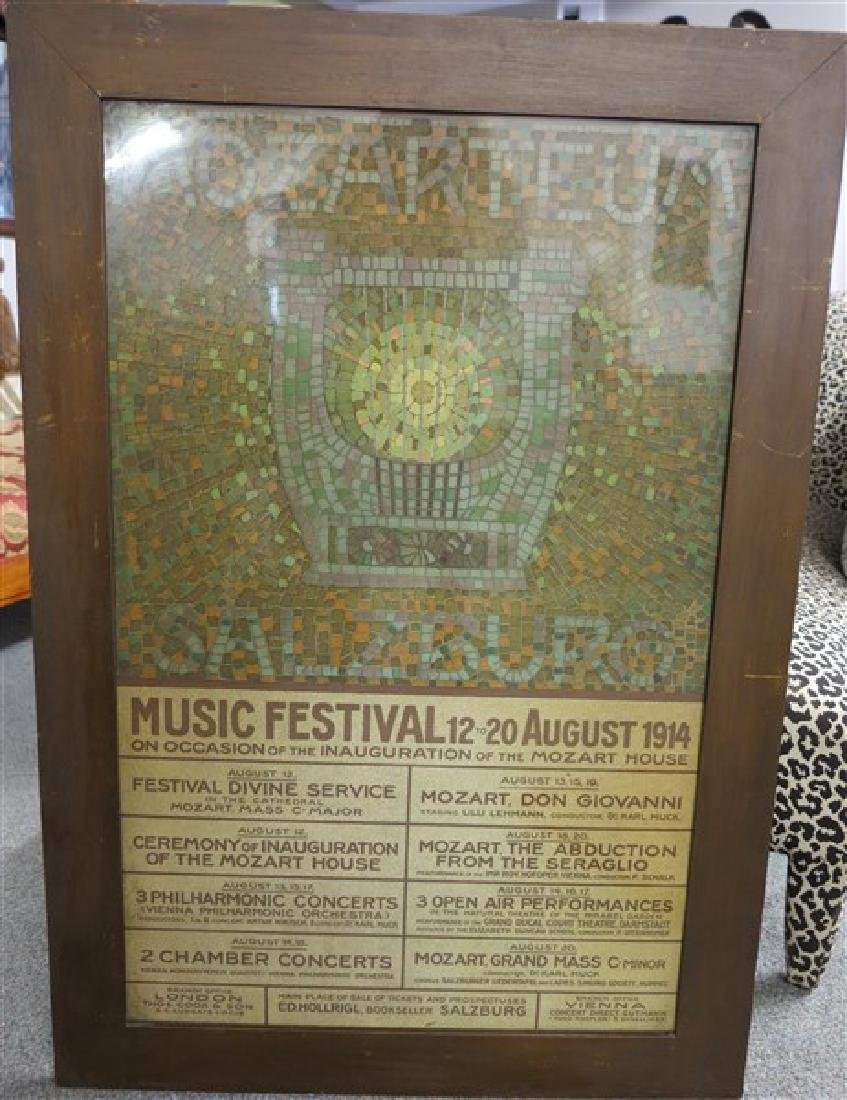 "Framed ""Mozart House"" Poster Dated 1914"