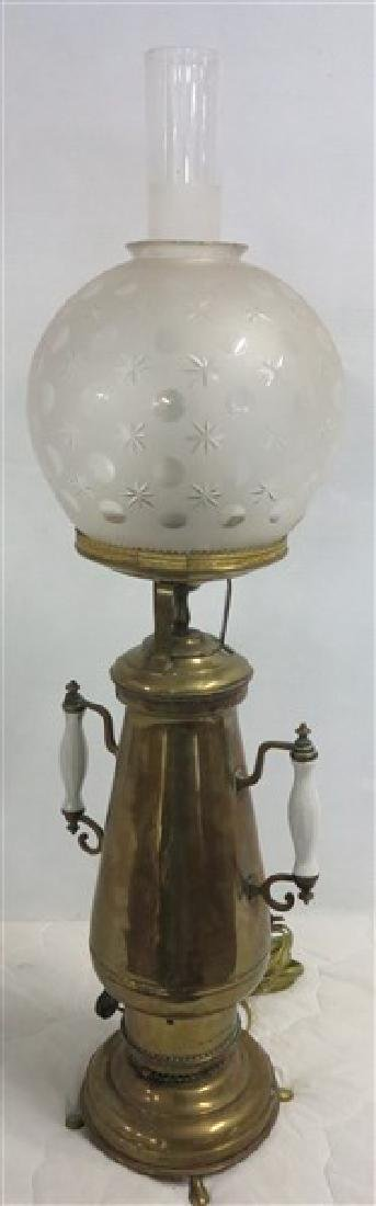 19th Century Brass Lamp Conversion w/ball Shade