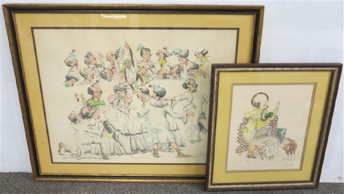 2 Framed Clown Prints Signed Wayne Howell
