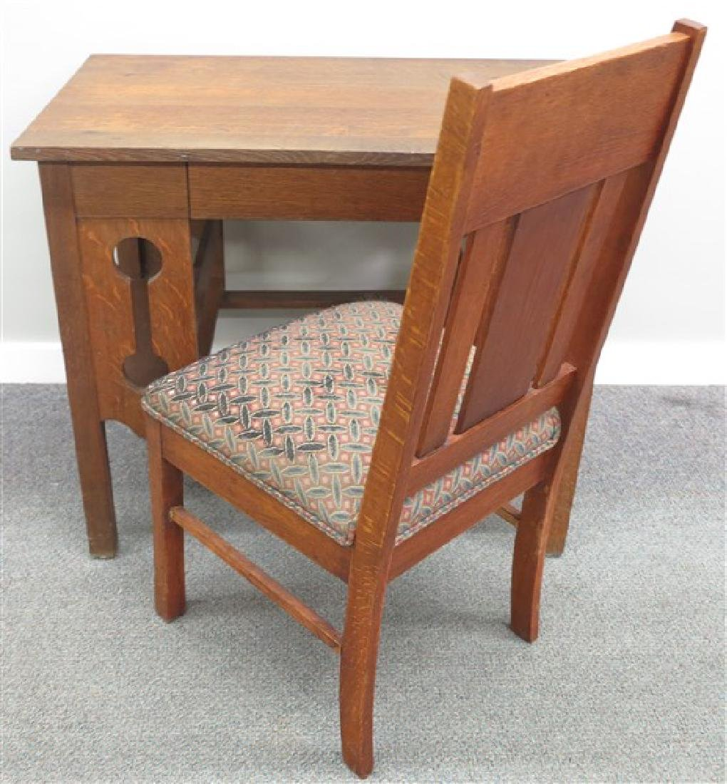 Arts and Crafts Oak Desk and Chair