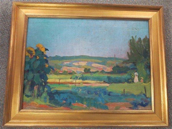 """Framed Impressionist Landscape Unsigned- 17"""" x 23"""""""