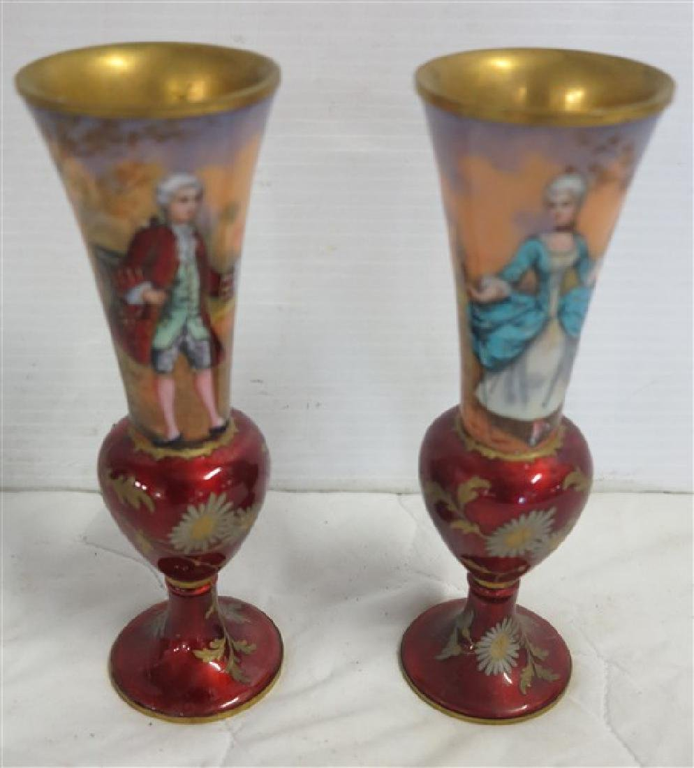 2 Paint Decorated & Enameled Bud Vases