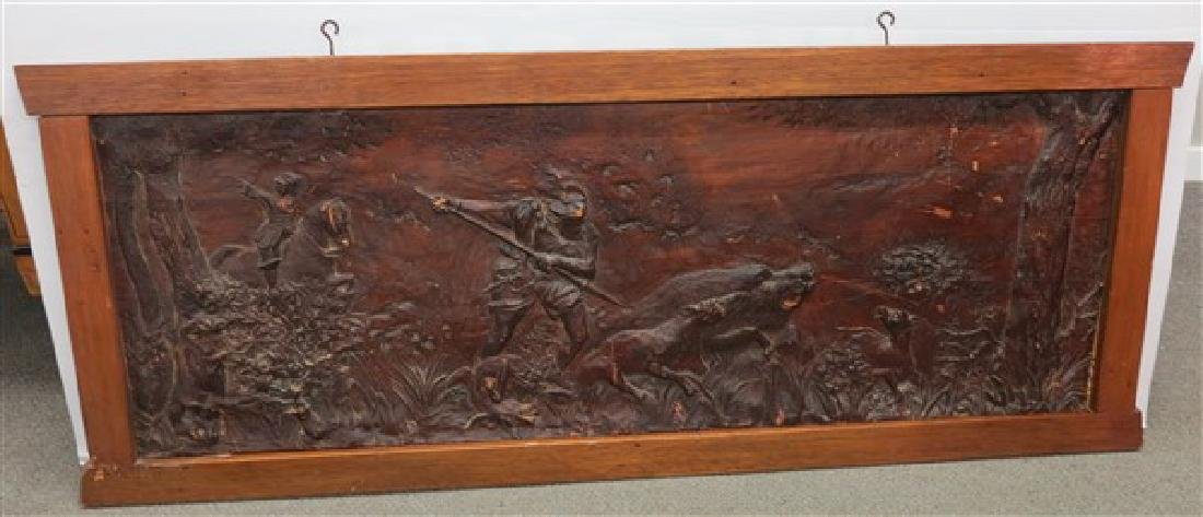 Carved Wooden Relief Plaque Depicting a Boar Hunt