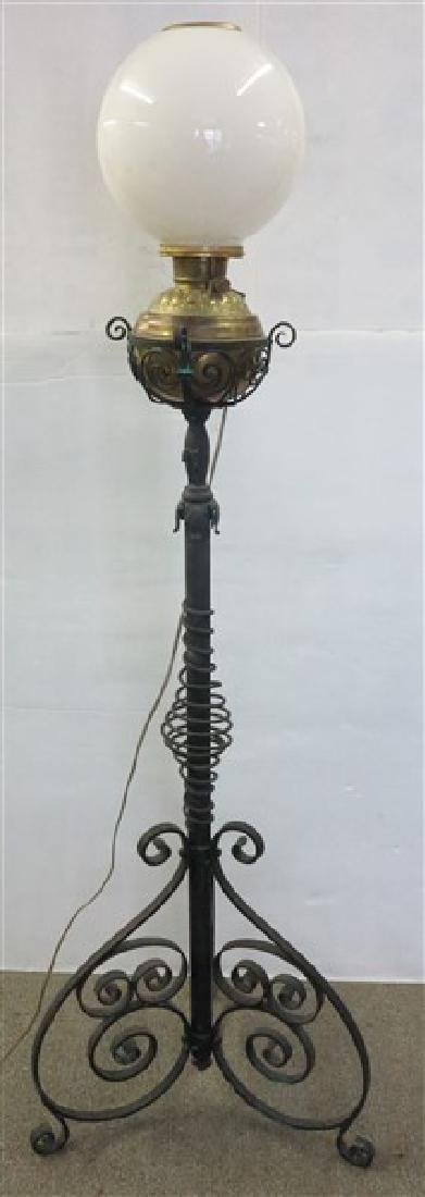 19th Cent Standing Iron Piano Lamp w ball shade