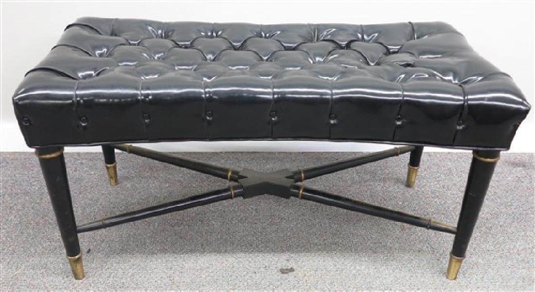 Tufted Patent Leather Bench w Cross Stretcher