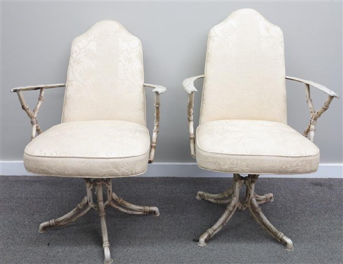 Mid-Century Metal Faux Bamboo Swivel Chairs