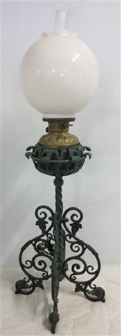 Lamp w/ Scrolled Iron Base and Ball Shade