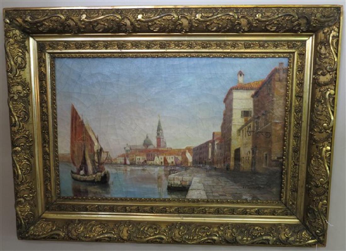 o/c 19th Cent Venetian Scene signed J.F. Ruyual