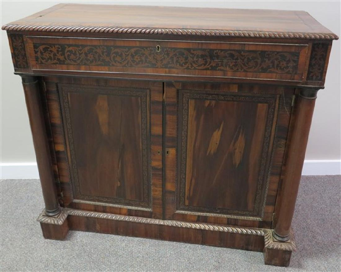 1 Drawer, 2 Door Inlaid Rosewood Cabinet