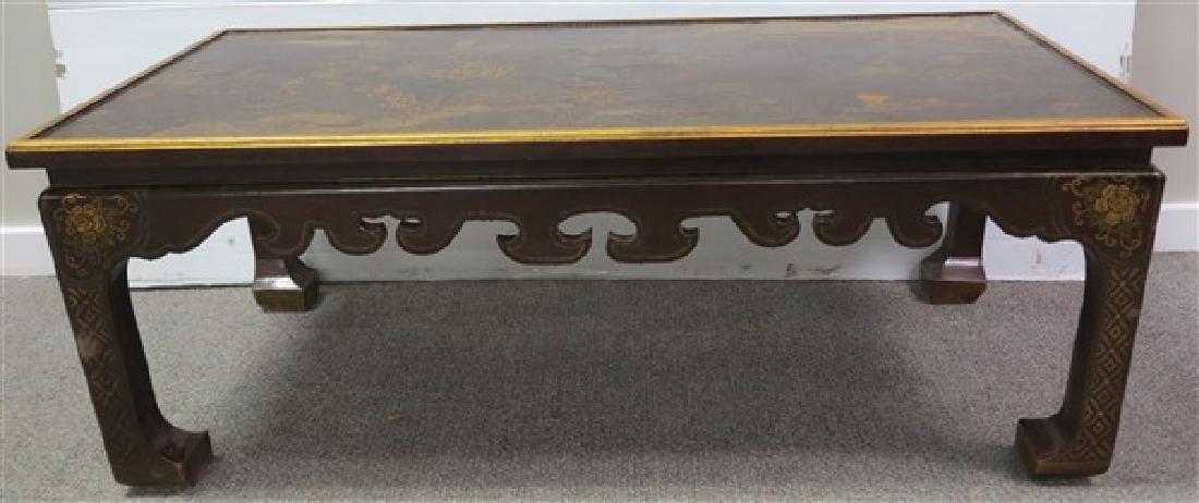 Paint Decorated Coffee Table w/ Oriental Motif