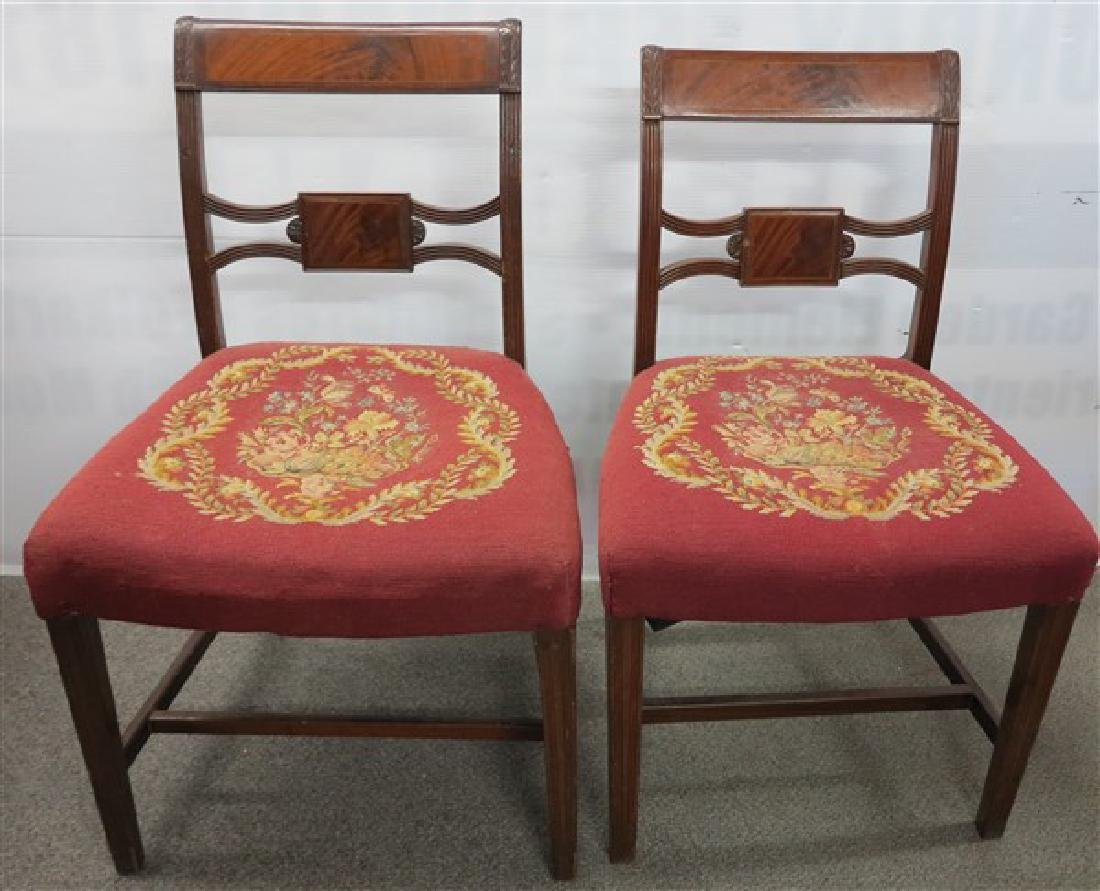Lovely PR of Needlepoint 19th Cent Side chairs