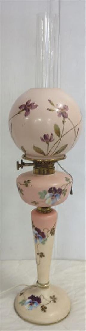 Paint decorated 19th Cent Lamp(electrified)
