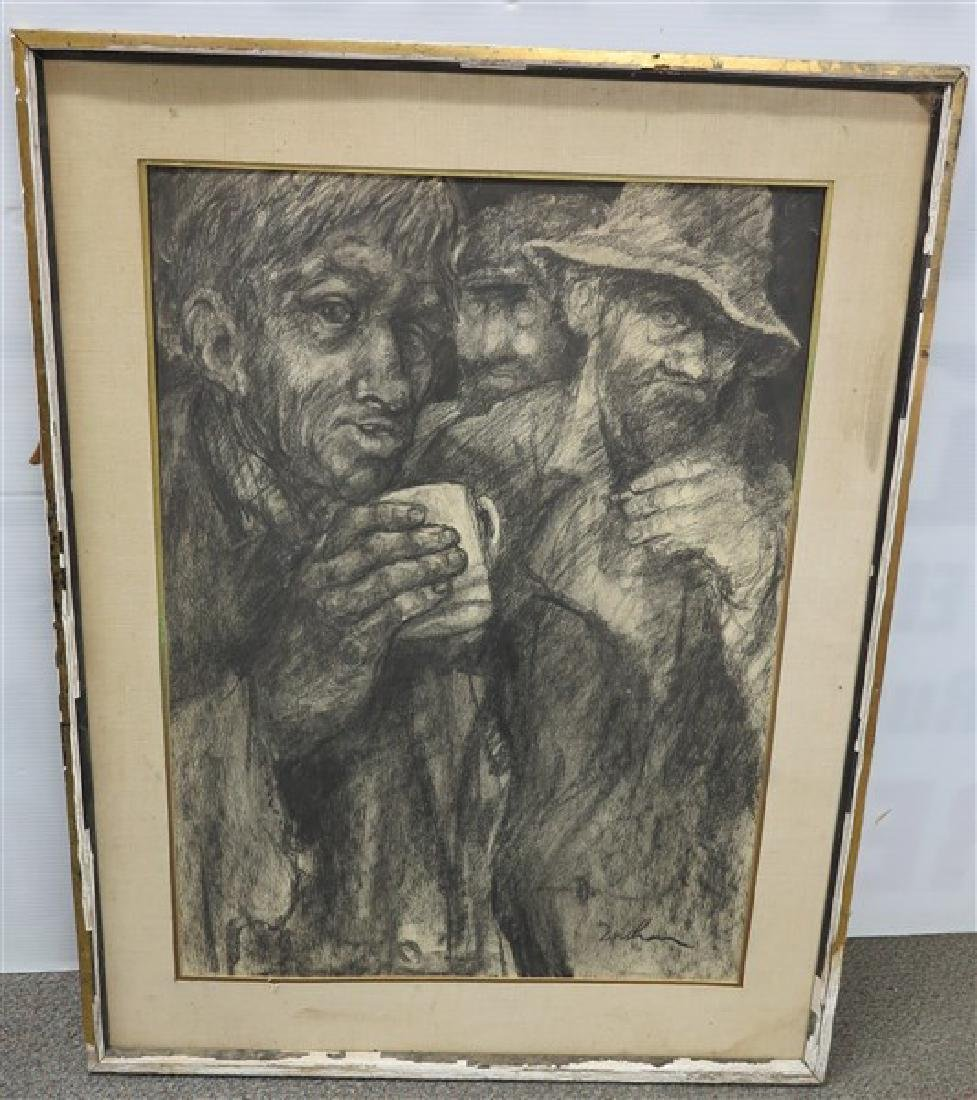 Charcoal? WPA Style Painting signed Lower Right
