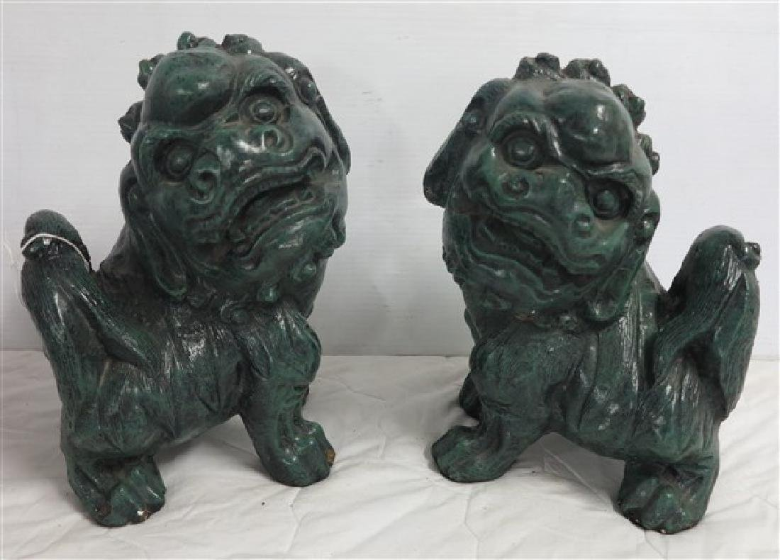 2 Painted Chalk Foo Dogs