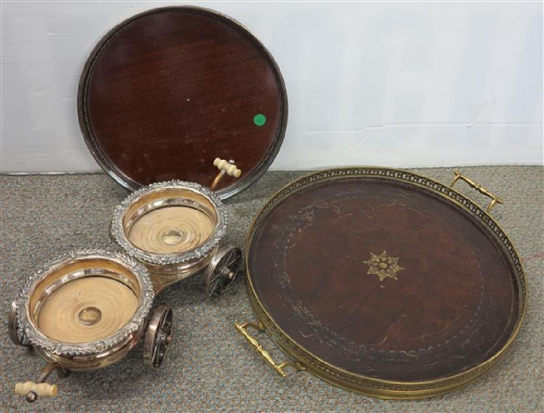 3 Pc. Lot Wine Caddy, 2 SP Trays