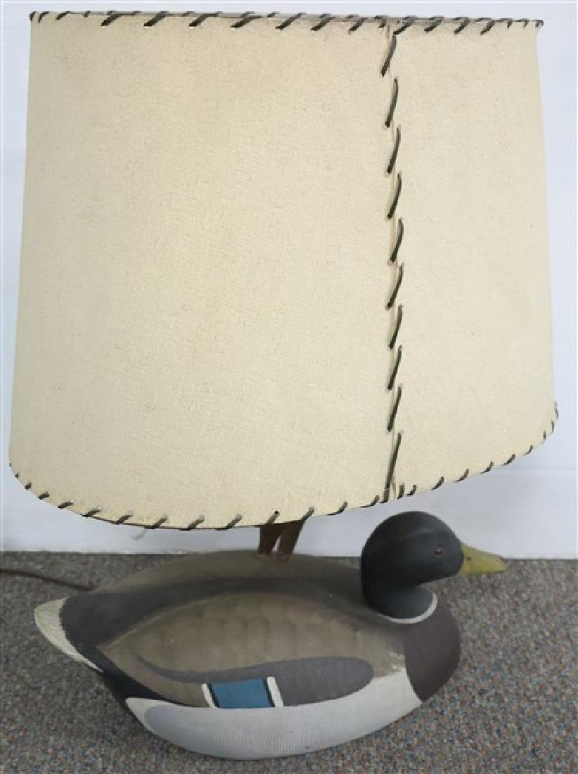 Carved Decoy Lamp signed Ken Harris, Woodville NY