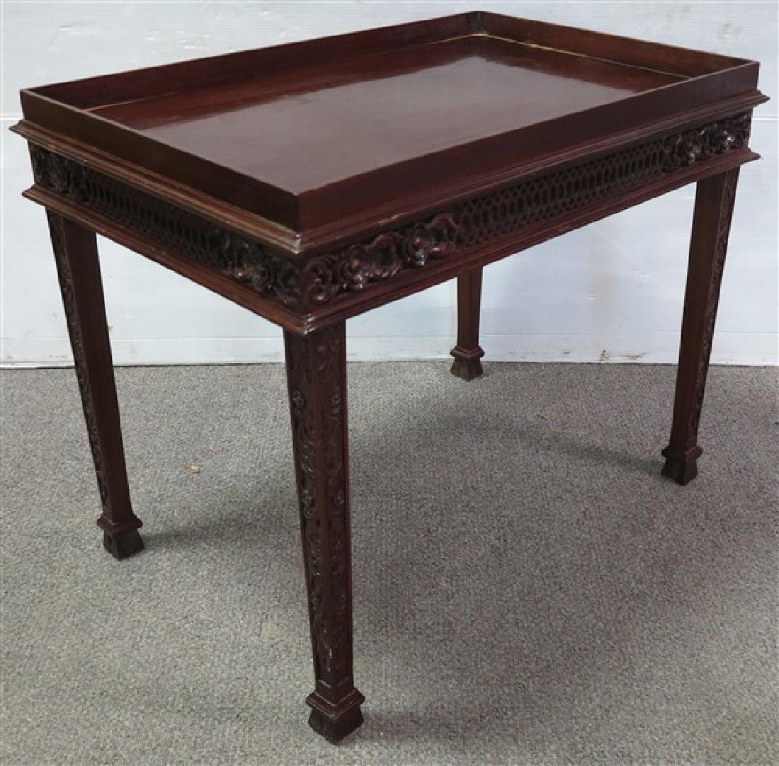 Pair of Tray Top Carved Mahogany Stands