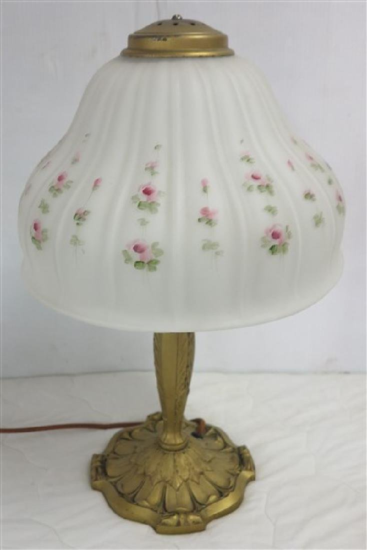 Lamp w Satin Glass Paint Decorated Shade