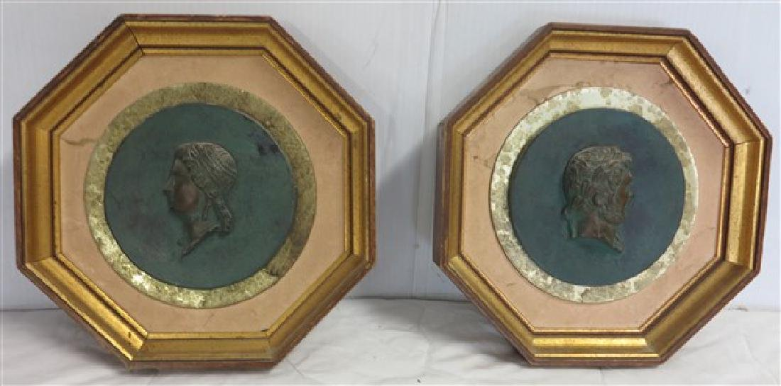 2 Framed Relief Busts