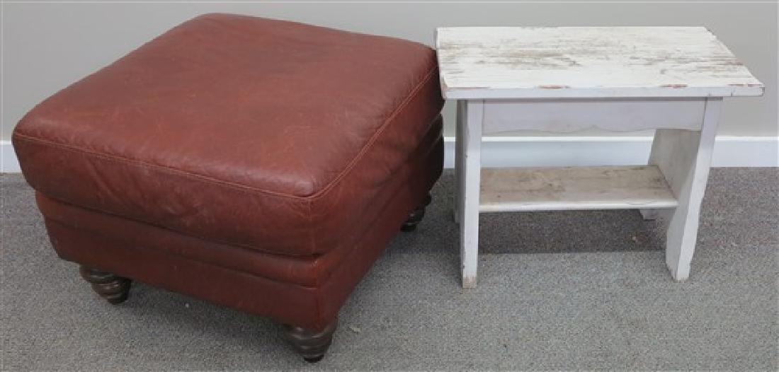 2 Pc Lot- Leather Ottoman and Country Bench