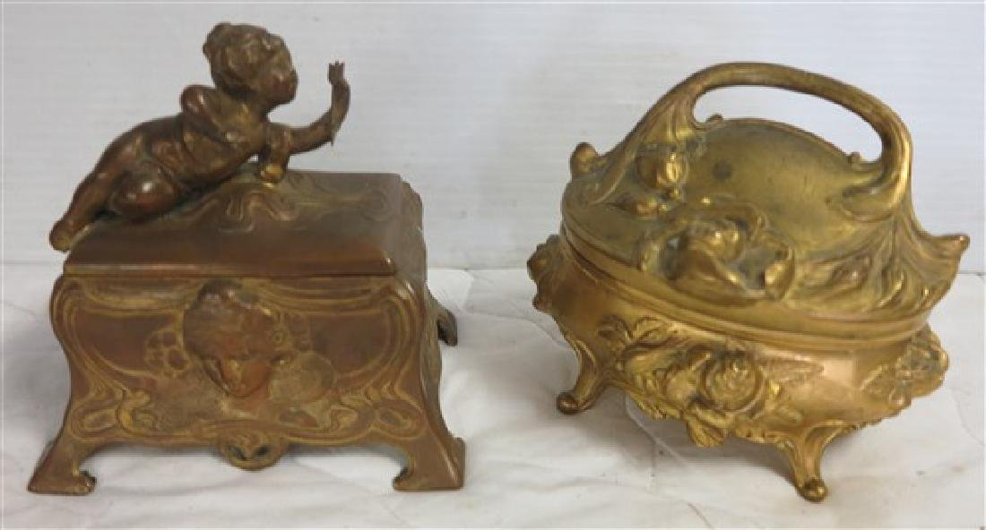 2 Art Nouveau Metal Dresser Boxes
