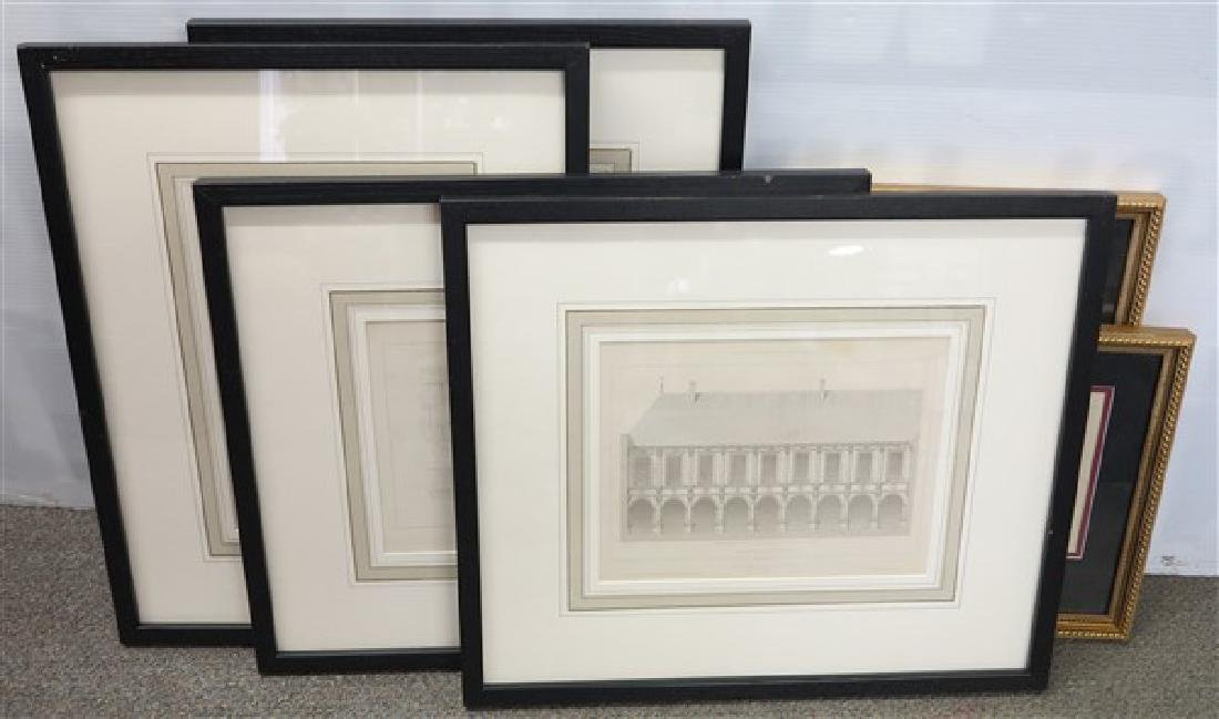 6 Pc Lot of Framed Architectural Drawings