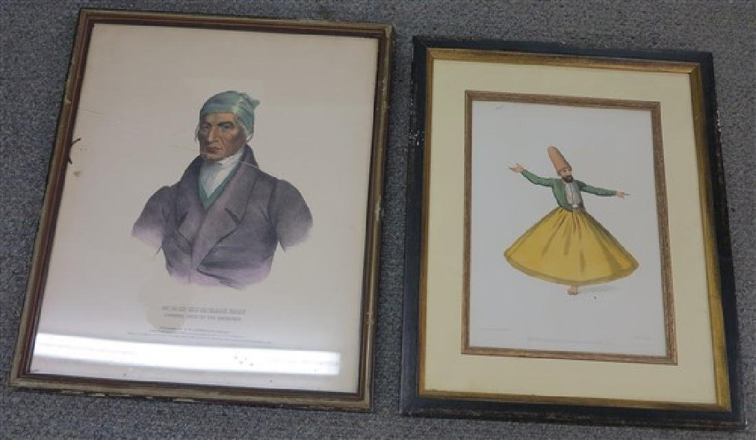 2 Framed Hand Colored Prints