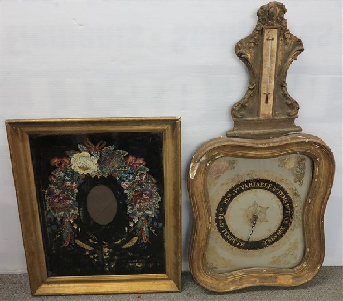 2 Pc. Lot, French Clock/Barometer & framed Artwork