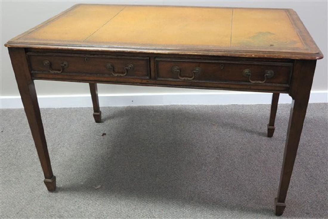 2 Drawer Leather Top Desk
