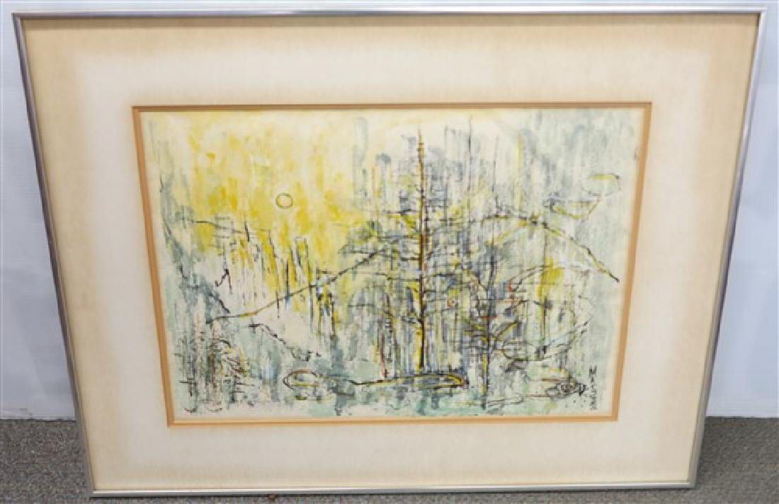 Framed Abstract Watercolor signed