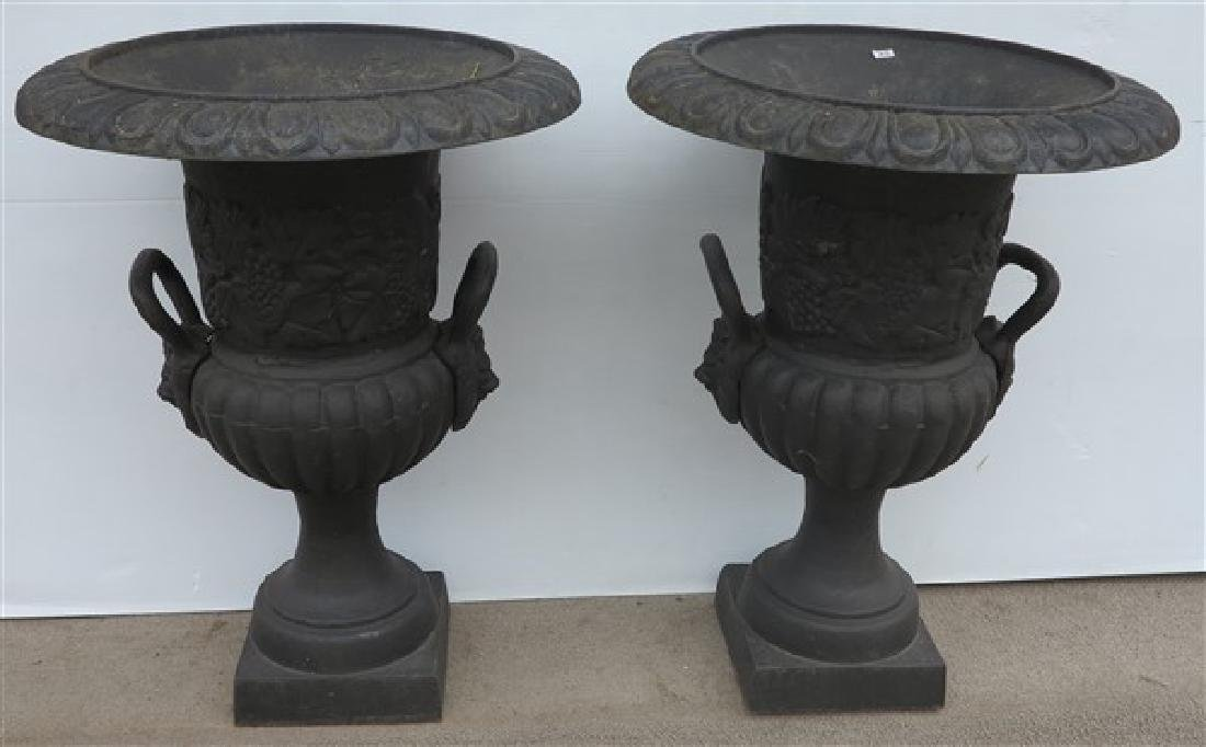 "Pr. of 29.5"" Cast Iron Garden Urns"