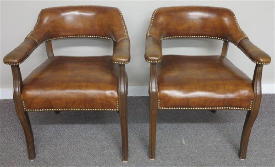 Pair of Modern Leather Arm Chairs w/Brass Tacking