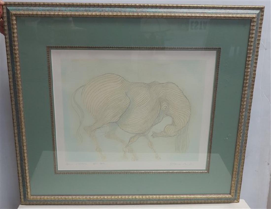 "Framed Drawing Pencil Signed- 30"" x 34.5"" Frame"