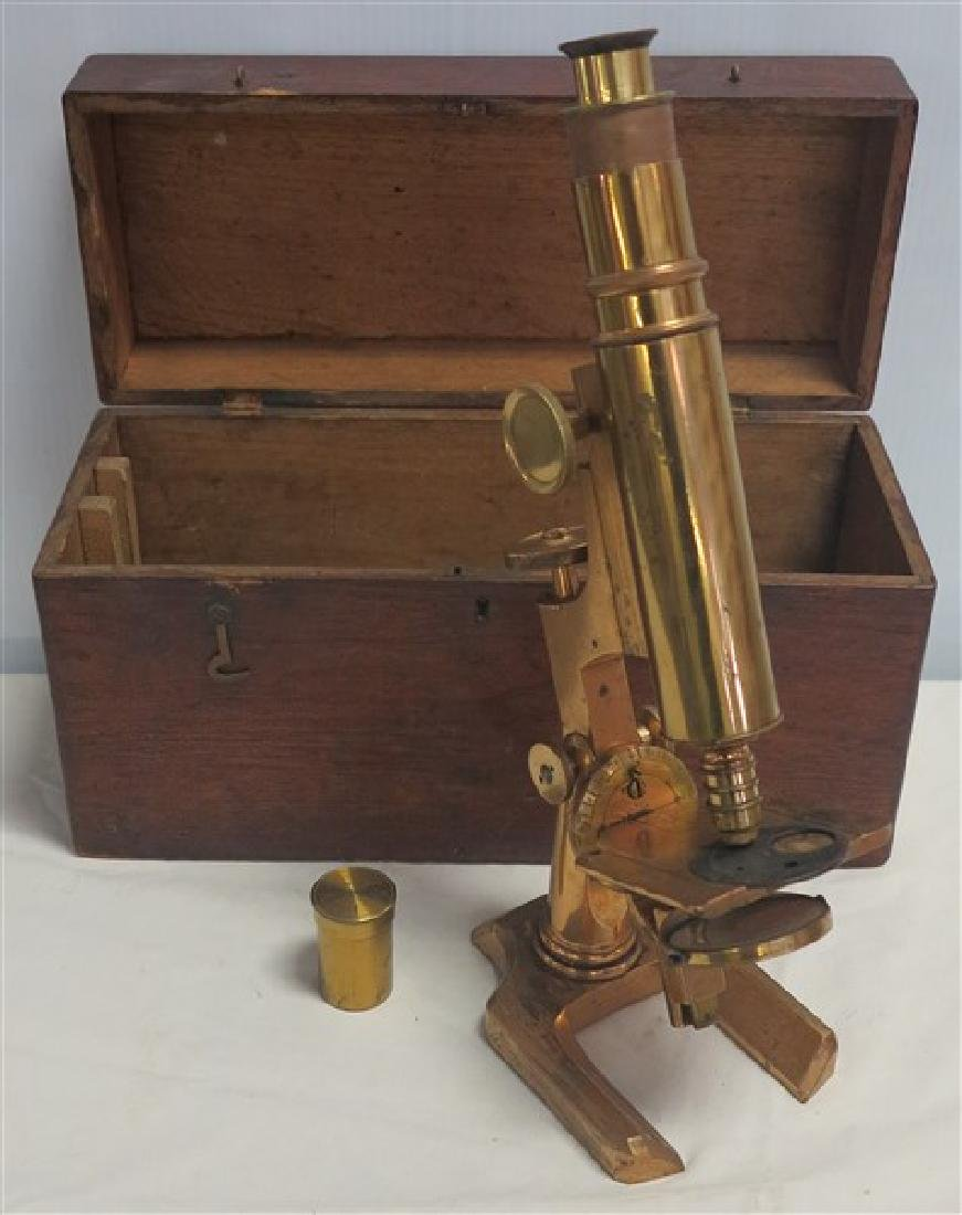 Brass Microscope w/fitted Case