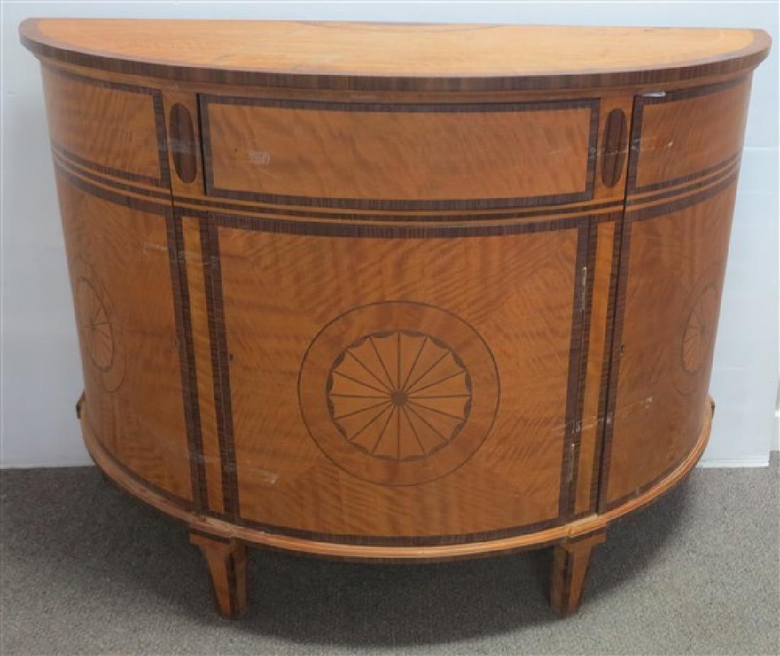 1/2 Round Satinwood Inlaid Cabinet