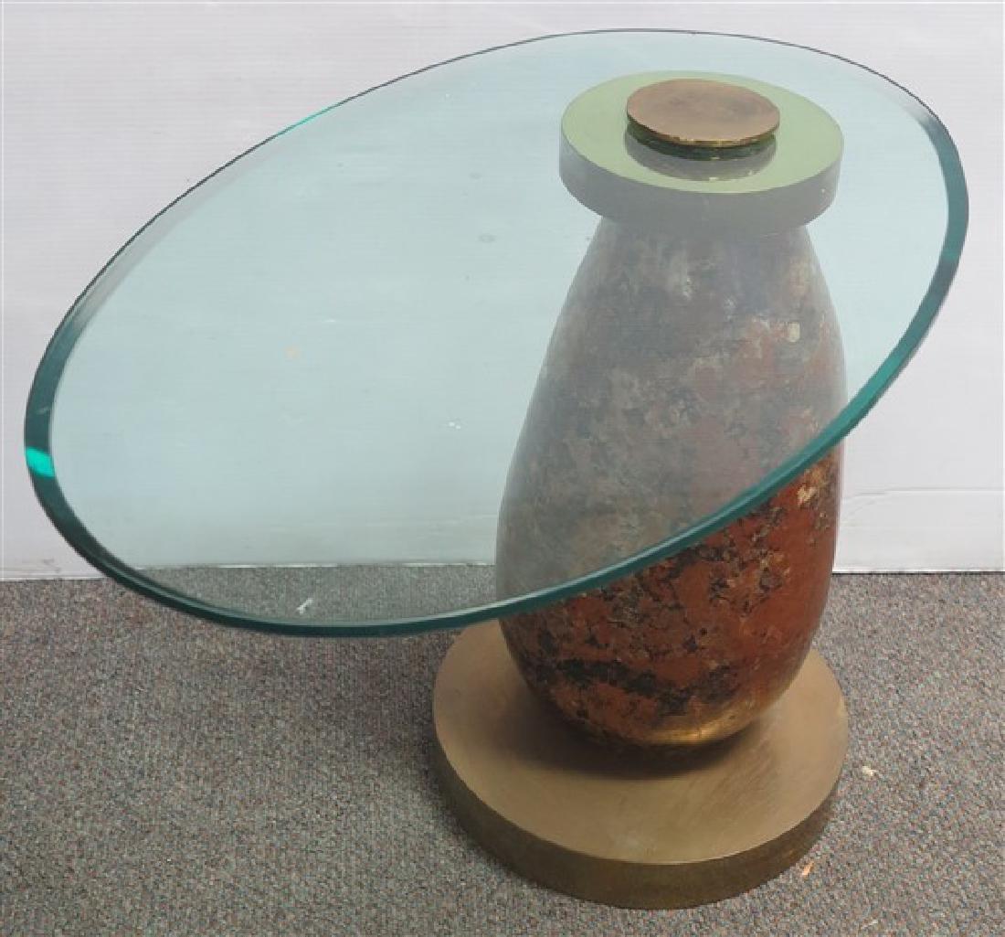 Nice Glass Top Table w/Brass & Decoupage base