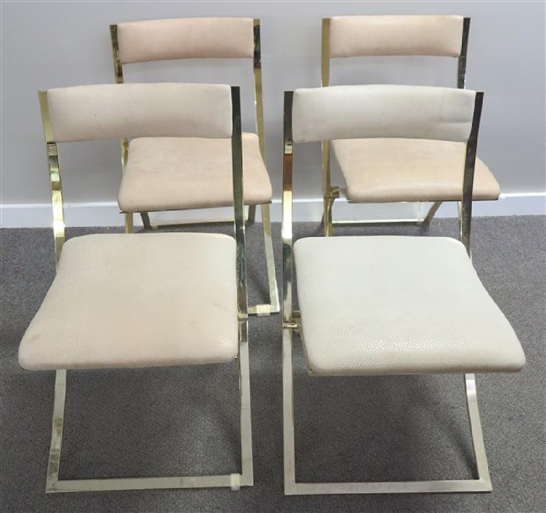 4 Folding Brass Italian Chairs