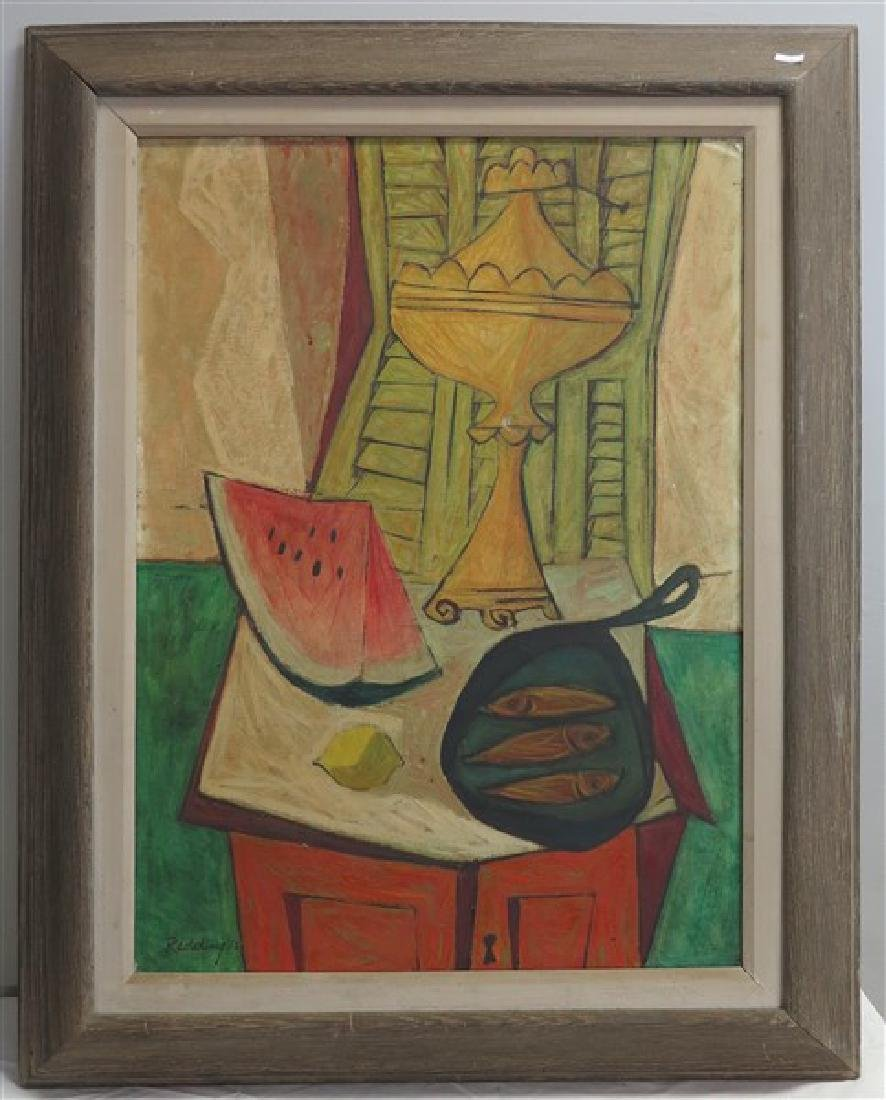 Framed O/C Abstract- Signed Redding 1952